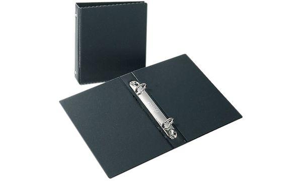 Kartei-Ringbuch, A6, schwarz, 2 Ring-Reißmechanik