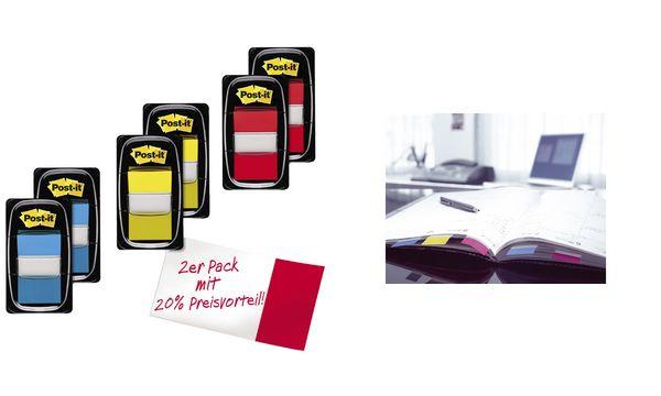 3M Post-it Index Haftstreifen, 25,4 x 43,2 mm, Vorteilspack