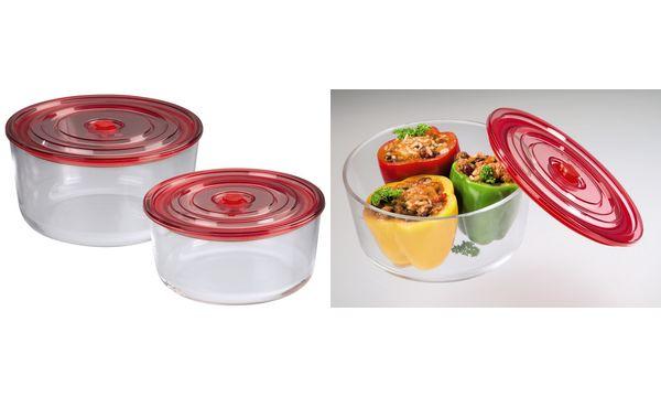 Frischhalte-/Auflaufformen-Set, aus Glas, rund