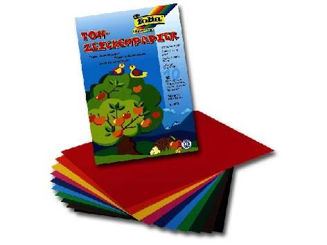 Tonpapier 10Bl 22x32cm farbig sortiert Klappmappe