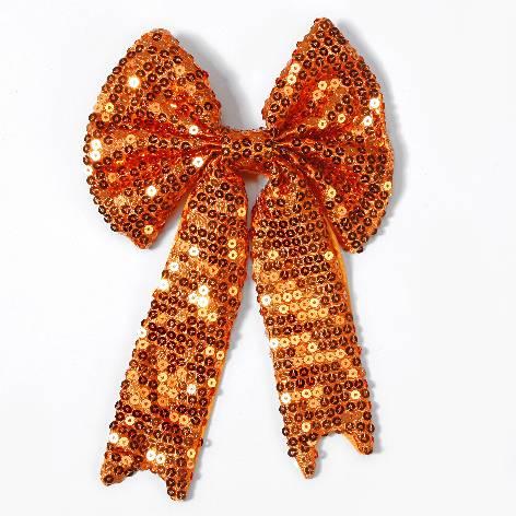 Geschenkschleife mit Clip Pailetten orange 15x23cm