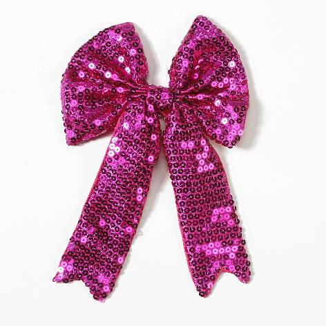 Geschenkschleife mit Clip Pailletten pink 15x23cm