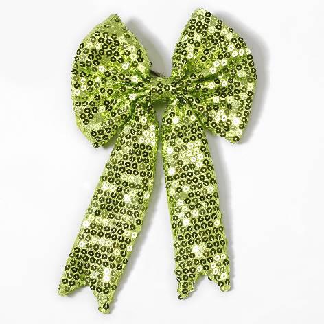 Geschenkschleife mit Clip Pailetten grün 15x23cm