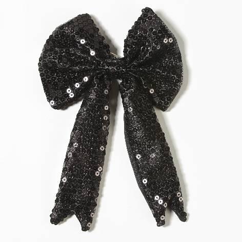 Geschenkschleife mit Clip Pailetten schwarz 15x23cm