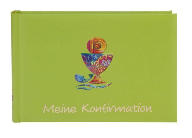 Taschenalbum Konfirmation Kelch grün Kunstdruck mit Gold...