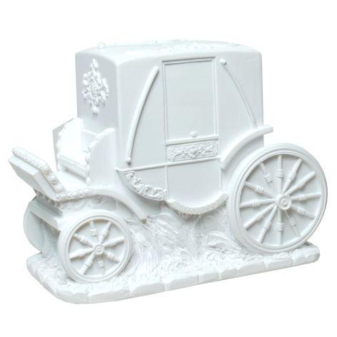 Spardose Polyresin Hochzeitskutsche weiß 17,5x13,5cm