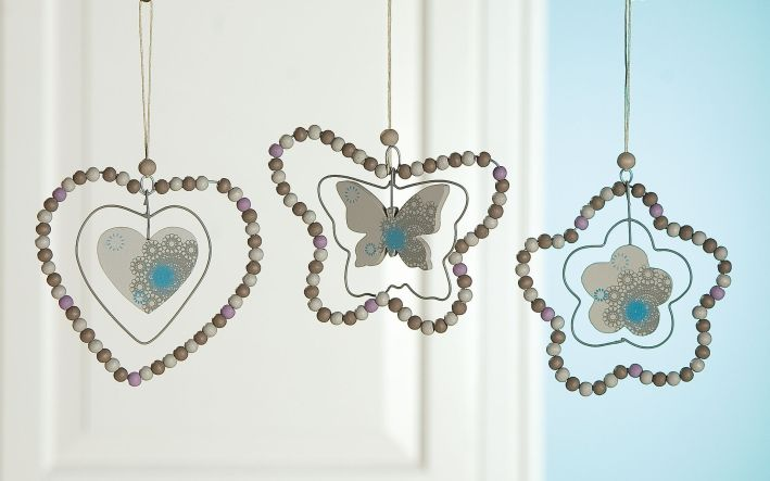 Deko Hänger Ornamente Schmetterling,Blume,Herz beige bra...
