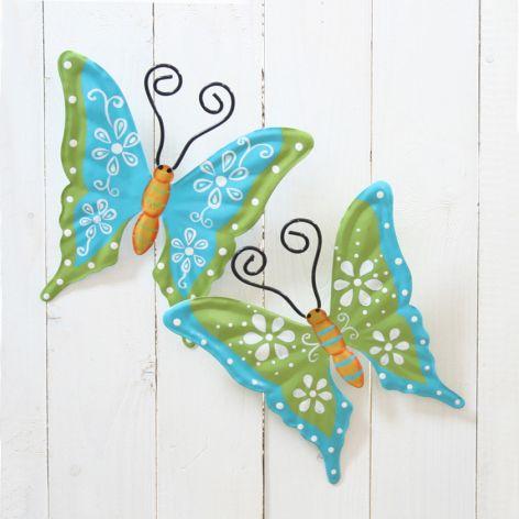 Wanddeko Metall Schmetterling blau grün mit Muster 2-fac...
