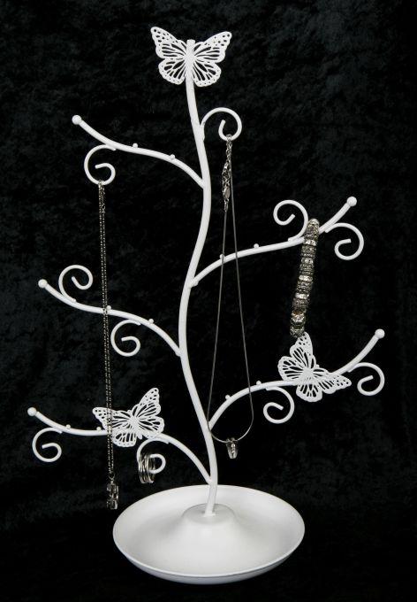 Schmucksständer Metall Schmetterling weiß 32x16x34cm