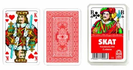 Kartenspiel Skat Französisches Bild mit edler Leinenpräg...