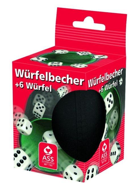 Würfelbecher Kunststoff schwarz mit grüner Filzeinlage m...