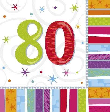 Motivserviette Geburtstag 80