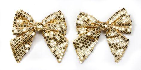 Geschenkschleife mit Clip Pailetten gold 2 Stück 10cm au...