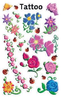 Tattoo Blumen beglimmert 1 Bogen
