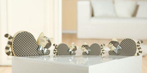 Deko Katze Spotty Keramik liegend mit Punkte grau beige ...