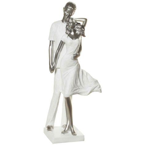 Deko Pärchen Figur aus Polyresin stehend weiss silber 28...