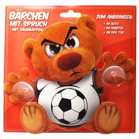 Bärchen Schild Plastik mit Saugnapf und Spruch Fussball ...
