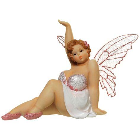 Deko Figur Elfe aus Polyresin sitzend mit Hand hoch weis...