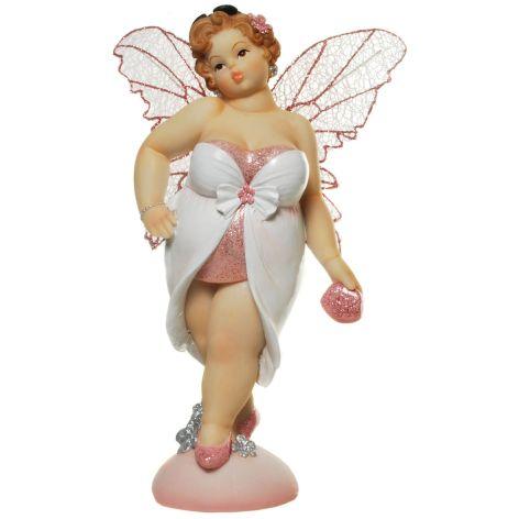Deko Figur Elfe aus Polyresin schreitend weiss rosa 22,5...