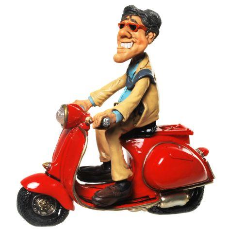 Deko Figur aus Polyresin Vespa Fahrer mit Anzug 19x19cm