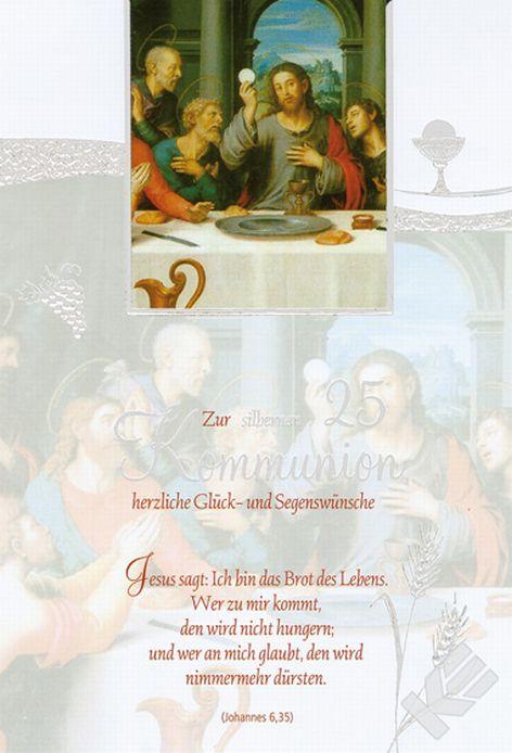 #5xKarte Kommunion Motiv Spruch silberne 25