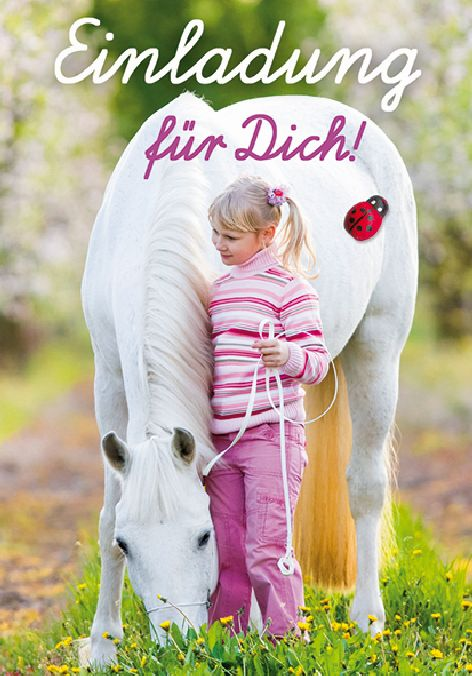Karte Geburtstag Einladungen für Kinder Mädchen Pferd 8e...