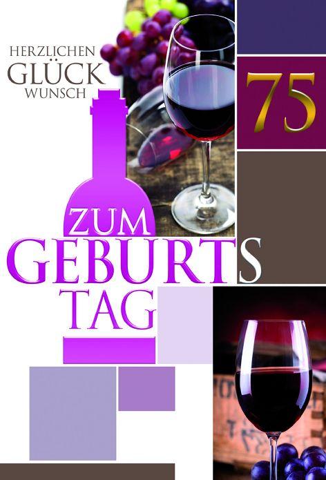 #5xKarte Geburtstag Zahl 75 Folie magenta gold Weingläse...