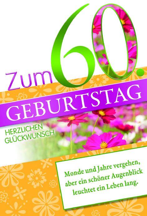 #5xKarte Geburtstag Zahl 60 Folie grün Blumen Spruch wei...