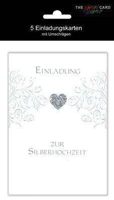 Karte Hochzeit Silber Einladung mit Innentext Motiv 25 J...