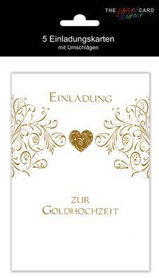 Karte Hochzeit Gold Einladung mit Innentext Motiv 50 Jah...