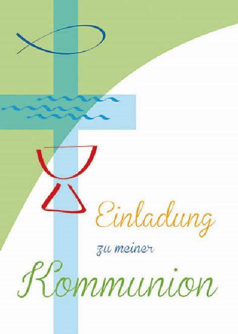 Karte Kommunion Einladung 5er Beutel Kreuz Taube bunt
