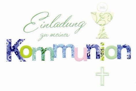 Karte Kommunion Einladung 5er Beutel Text geprägt Symbol...