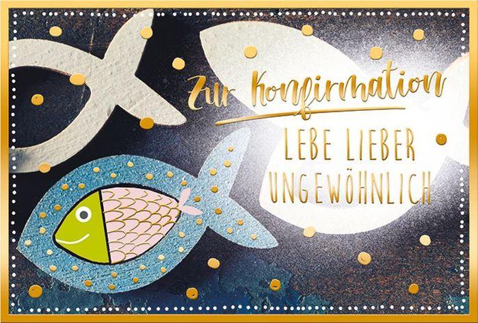 #5xKarte Konfirmation Motiv Folie gold Kelch Fisch weiss...