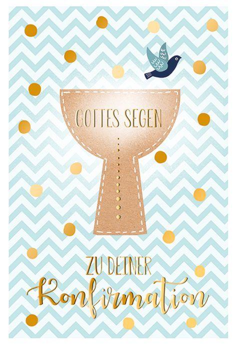 #5xKarte Konfirmation Motiv Folie gold Spruch Kerze Kelc...