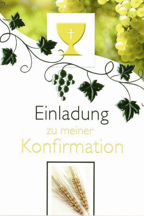 Karte Konfirmation Einladung 5er Beutel Kelch Ähren Trau...