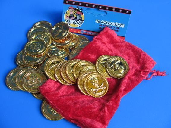 Goldmünzen Pirat 36 Stück im Sack 3,3cm